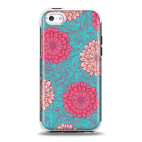The Pink & Blue Floral Illustration Apple iPhone 5c Otterbox Symmetry Case Skin Set