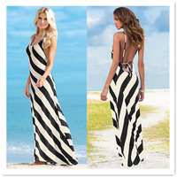 2016 summer fashion sexy beach women dresses halter print striped plus size women clothing bodycon club bandage long dress AT002
