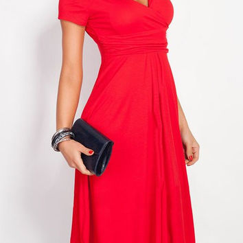 Red V-Neck Ruched Waist Midi Dress