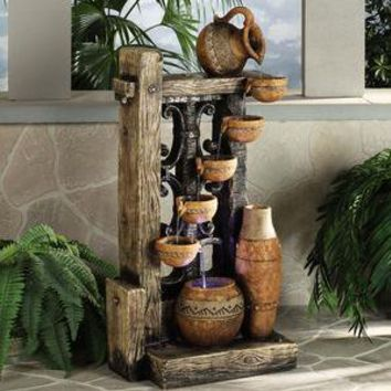 Lighted Rustic Pots Water Fountain        -                Water Fountains        -                Home Accents                    - Touch Of Class