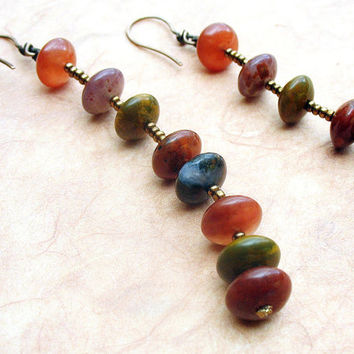 Extra Long Dangle Earrings with Petrified Wood by BacaCaraJewelry