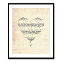 Try to Remember a time in September song lyrics - Tom Jones - typography wall art - 8 x 10 or larger print love poetry - heart typography