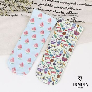 Summer Style Wholesale Fashion Brand Women Cute Funny Kawaii Harajuku Transparent active sushi Printed ankle Socks
