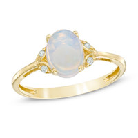 Oval Opal and Diamond Accent Vintage-Style Ring in 10K Gold