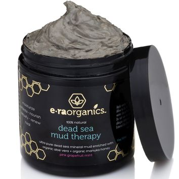 Dead Sea Mud Mask with Organic Aloe Vera, Shea Butter, Manuka Honey & Hemp Oil (6oz) Spa Quality Face Mask to Cleanse & Minimize Pores, Moisturize, Detoxify & Exfoliate (In Blood Orange Lemongrass)