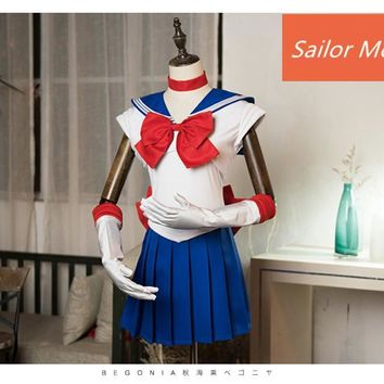 Japanese Sailor Moon Costumes Tsukino Usagi Blue School Uniforms Sleeveless Dress Comic-con Fancy dress any size