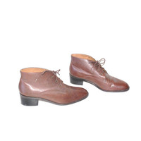 size 9.5 MINIMAL oxford booties / CHUNKY HEEL brown leather lace up ankle boots
