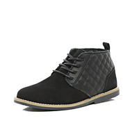 River Island Boys black leather quilted desert boots