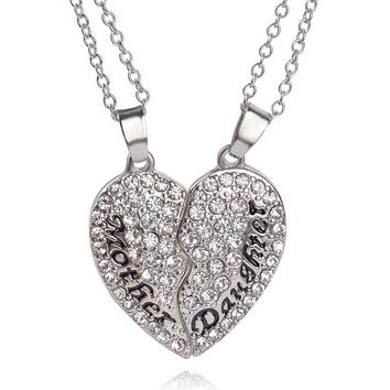 New Jewelry Women Two Pieces Heart Necklace Rhinestone Crystal Charm Mother And Daughter Pendant Chain Gift