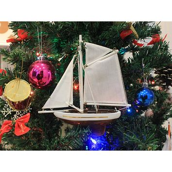 Wooden Columbia Model Sailboat Christmas Tree Ornament 9""