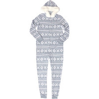 Walmart: Women's Fur Trimmed Plush One-Piece Hooded Pajamas
