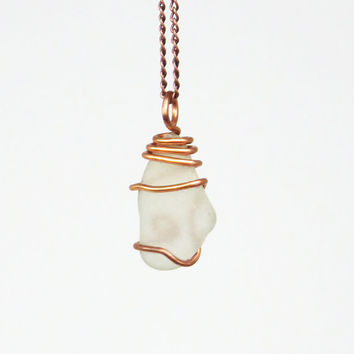 Sea glass pendant necklace - Copper-wrapped white sea glass beach glass pendant (Available with OR without the chain)