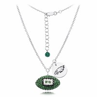Philadelphia Eagles Silver and Crystal Necklace Jewelry. NFL Jewelry
