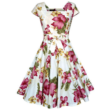 Hawaiian Dress Tropical Dress Hibiscus Flower Dress Pin Up Dress Tiki Dress Vintage Inspired Dress Summer Dress Floral Dress Plus Size Dress