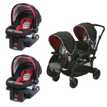 Graco Red Double Seated Twin Stroller with 2 Car Seats Travel System, Play