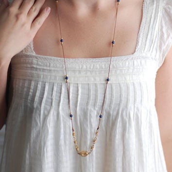 Long unique necklace, vintage gold chain and recycled gold and navy blue beads, FREE SHIPPING (see shop for details)