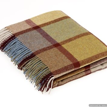 Merino Lambswool Throw Blanket - Pateley Ochre Check, Made in England