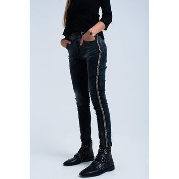 Black Slim Jeans with Sequin Detail