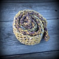 "CHARITY Green & Purple Crocheted Scarf - 60"" long"