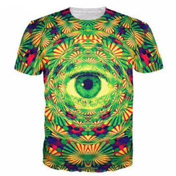 PLstar Cosmos Psychedelic Eye T-Shirt trippy pattern leads to an all-seeing eye vibrant design t shirt Women Men tees 3D Clothes