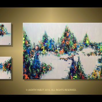 """Landscape painting, 66"""" Modern Abstract Colorful Beautiful landscape- Made to Order, Original Unique Triptych Painting by Judith Yabut"""