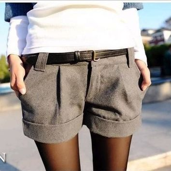 2016 autumn and winter women turn-up straight woolen bootcut short pants plus large big size casual shorts black grey