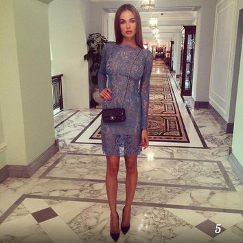 women fashion blue lace dress with the inside long sleeve vestidos = 1876627332