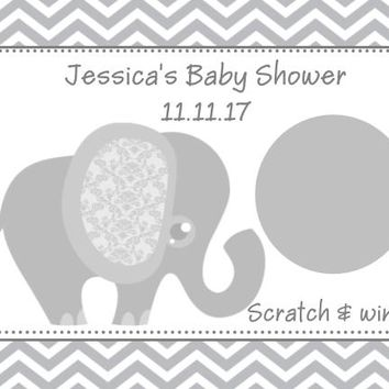 10 Grey Elephant Baby Shower Scratch Off Cards