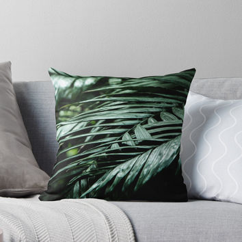 'Tropical leaves 03' Throw Pillow by VanGalt