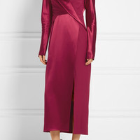 Dion Lee - Wrap-effect silk-satin and crepe de chine midi dress
