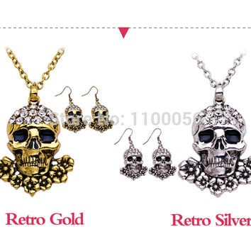 Fashion Gold plated Skeleton Necklaces Sets for women Halloween Silver long necklace Punk Rock Rhinestone Skull Necklace T1576