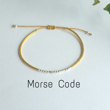 CUSTOM  secret message bracelet morse code. Beaded. sterling silver.silk.minimalist.dainty. Gold silk.dot and dash.name.sister mother gift
