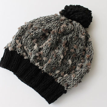Grey and Black Baggy Beanie Slouchy Hat with Pom