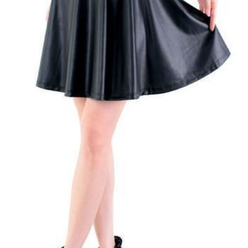 New high waist faux leather skater flare skirt mini skirt above knee solid color skirt