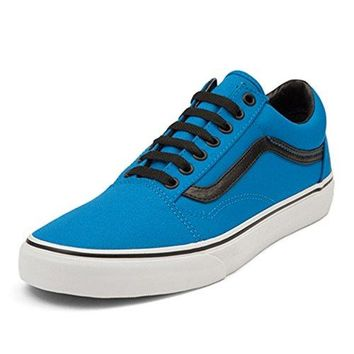 Vans Old Skool Bright Fashion Sneakers, Neon Blue/Black, 8.5 Men/10 Women
