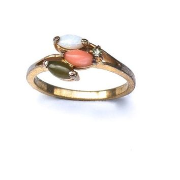 Size 8 Gold Tone Ring with Faux Jade, Coral/Rose Quartz, and Opal Stones, Vintage Jewelry