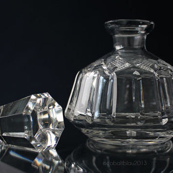 Vintage Cut Glass Perfume Bottle / Mid Century Antique Perfume Bottle Crystal Flakon Vanity Glass Bottle