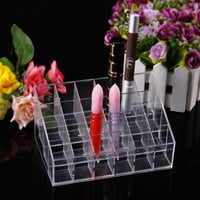 1pcs Clear Acrylic 24 Lipstick Holder Display Stand Cosmetic Organizer Makeup CaseToiletry Kits