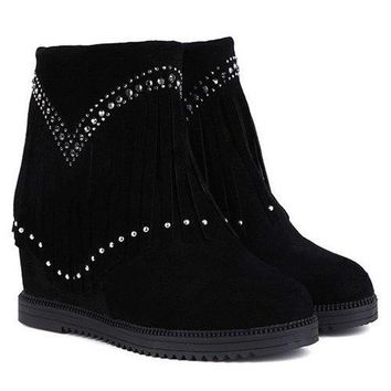 Hidden Wedge Fringe Rhinestones Ankle Boots - Black 38