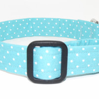 Light Blue White Polka Dot Dog Collar
