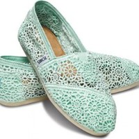 Toms Mint Crochet Women's Classic Shoes Slip Ons