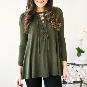 The Gap Between Us Lace Up Top - Green