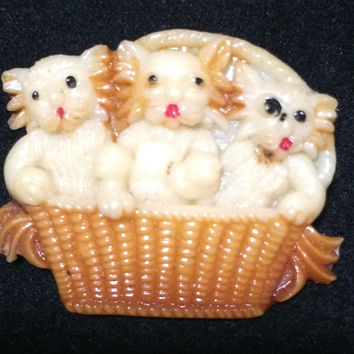 Early Plastic Celluloid Kitten Pin 3 Kittens in a Basket Brooch Signed Japan Figural Cat Jewelry Vintage Mid Century Era 418