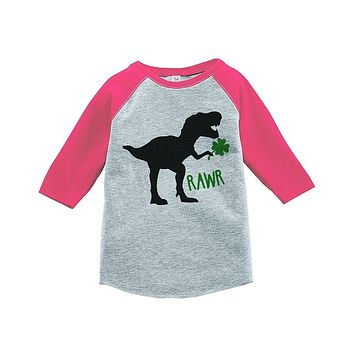 Custom Party Shop Kids Dinosaur St. Patricks Day Grey Raglan