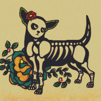 Modern Cross Stitch Kit 'Chihuahua' By Illustrated Ink