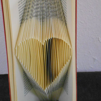 Folded Book Art - Heart Origami - Love Book Sculpture - Beautiful gift