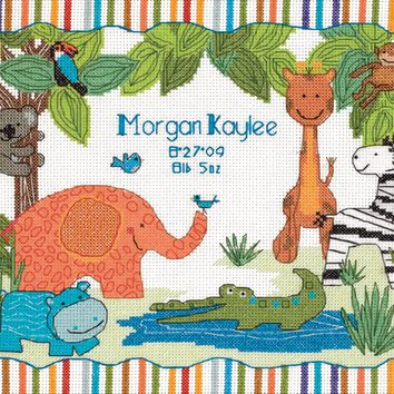 "Dimensions/Baby Hugs Counted Cross Stitch Kit 12""X9""-Mod Zoo Birth Record (14 Count)"
