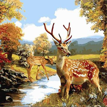 Unframed Deer Animals DIY Painting By Numbers Kits Drawing Painting Picture On Canvas For Home Decoration Unique Wall Artwork