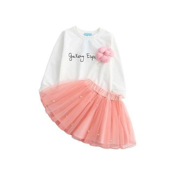 Summer Baby Kids Girls Flower Party Long Sleeve Letter Printed T-shirt Tops +Tulle Skirt Outfits Set Gown Fancy Dresses 2pcs