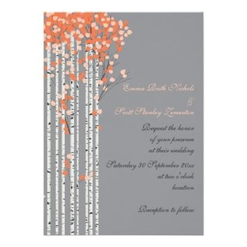 Birch trees coral, peach, grey wedding custom invitations